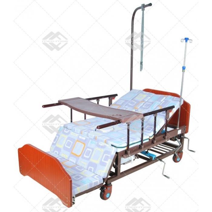 Кровать механическая Med-Mos Е-45А (ММ-5424Н-01) с боковым переворачиванием, туалетным устройством и функцией «кардиокресло» (Медтехника Москва)