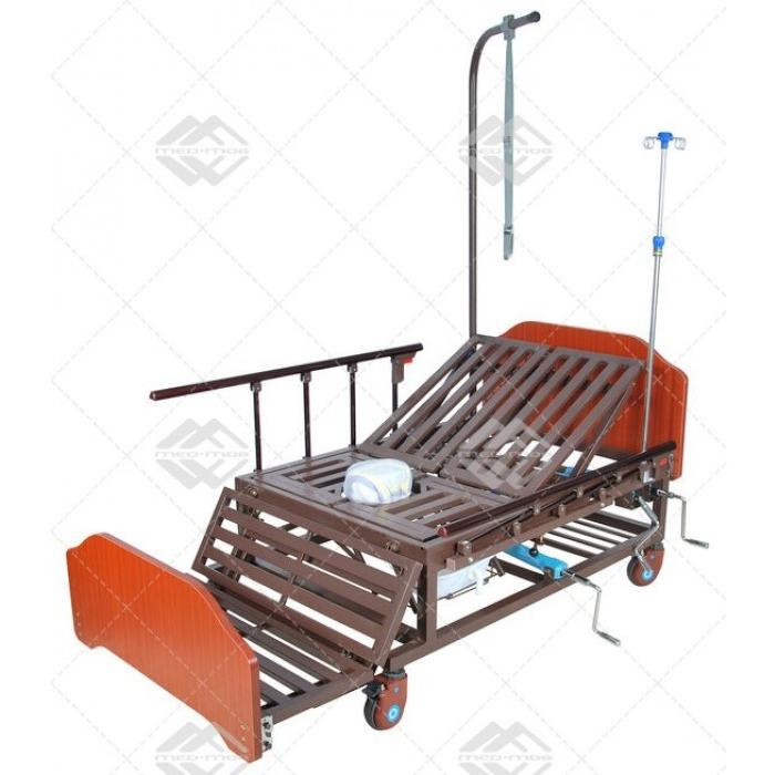 Кровать механическая Med-Mos Е-45А( ММ-152ПН) с боковым переворачиванием, туалетным устройством и функцией «кардиокресло»